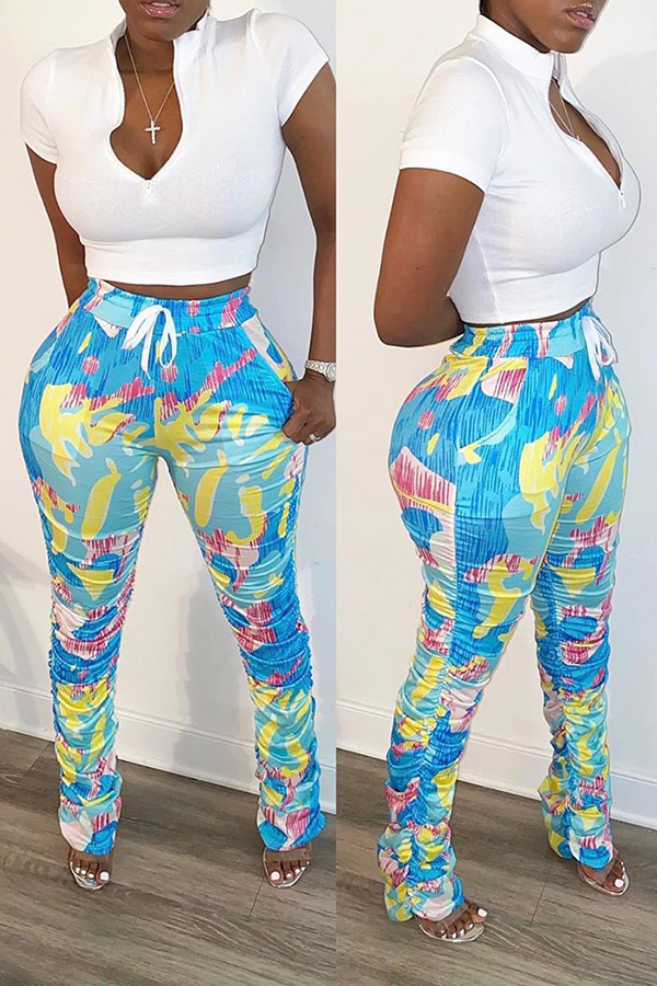 Solid Color Top & Printed Trousers Set