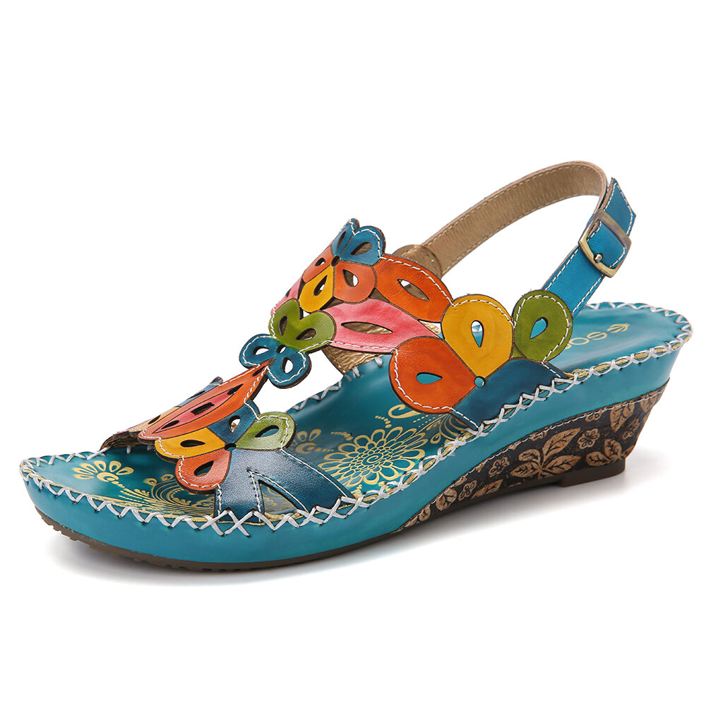 SOCOFY Leather Buckle Slingback Floral Cut-out Stitching Wedge Sandals