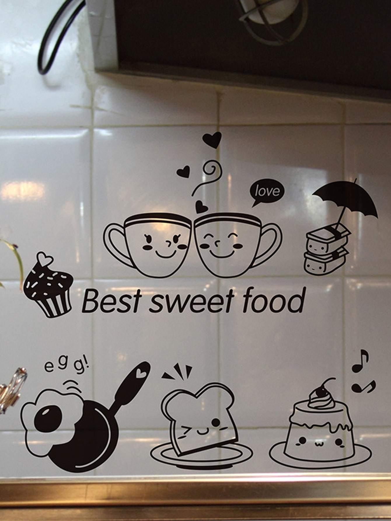 Cup Print Oil Proof Wall Sticker