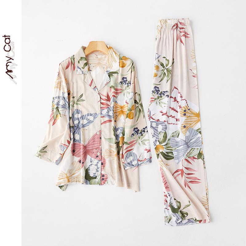 2-piece butterfly print long sleeve + trousers pajama set