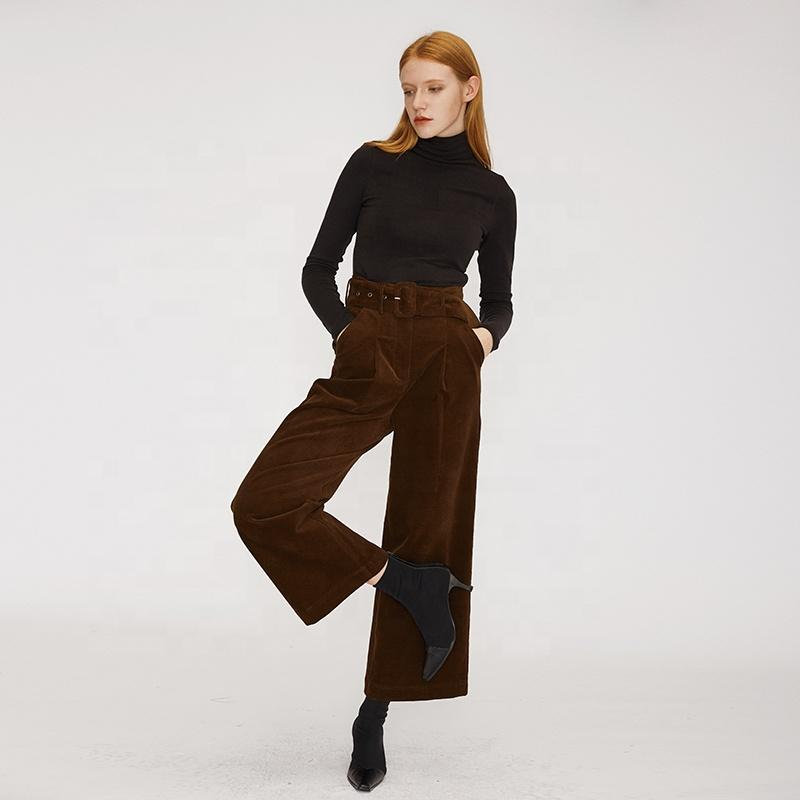 loose vintage tunic dark brown neutral style modern vintage warm fall new arrival  women wide leg corduroy long pants with belt-carrot trousers 2.11