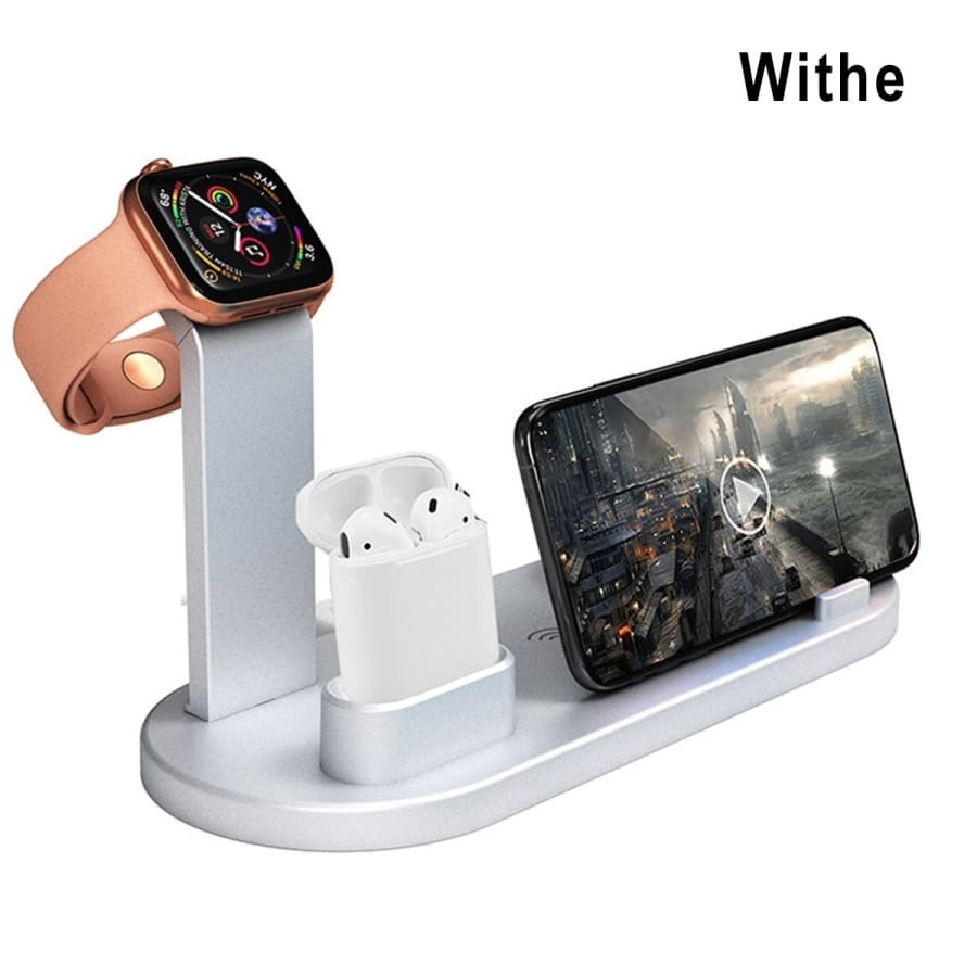 4 in 1 Portable Multi-function Charging Dock Compatible with Apple Watch Airpods Headset Charging Station Fast Wireless Charging Stand for Android & IOS Phone Mobile Phone Accessories
