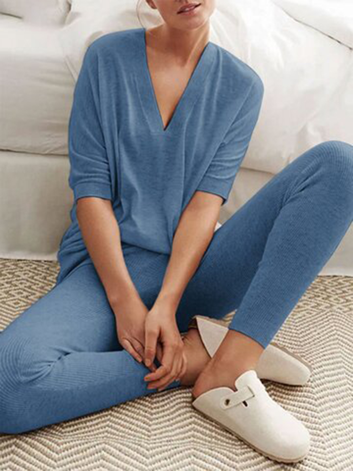 V Neck Knitted Two Pieces Pants Suits