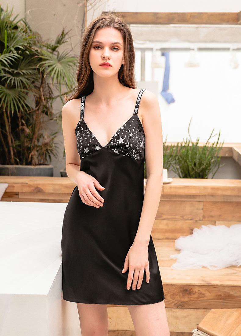 Sexy pajamas suspender nightdress with chest pads shoulder strap letters skirt casual silk simulation
