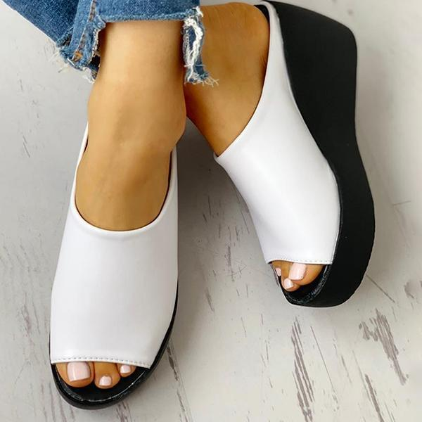Faddishshoes Peep Toe Muffin Wedge Slippers