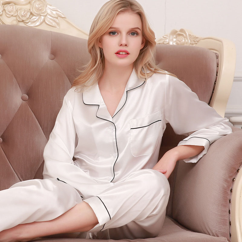 2-piece set silky solid color lapel pajamas