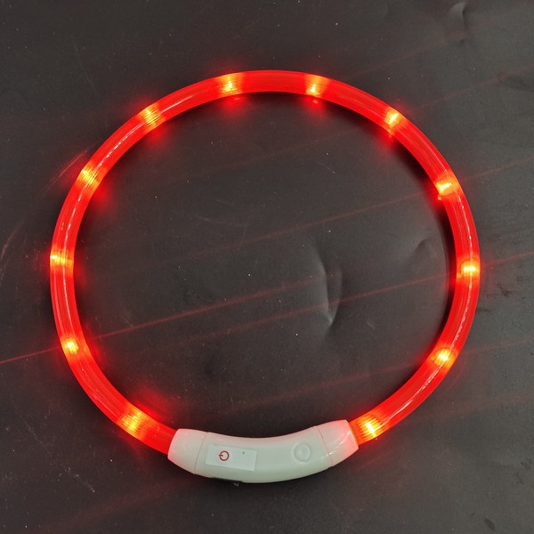 LED Dog Collar - Cuttable Water Resistant Glowing Dog Collar Light Up, USB Rechargeable or Battery Powered Pet Necklace Loop for Dogs