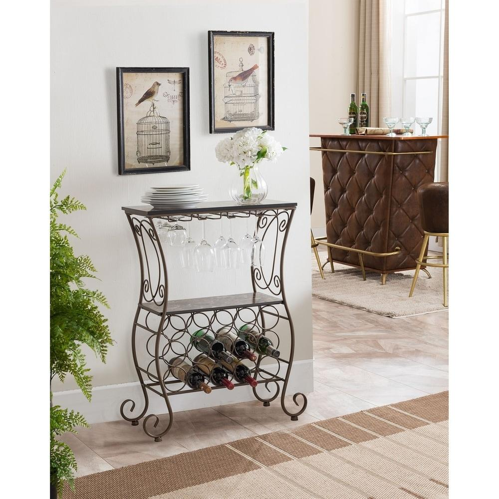 15 Bottle Pewter Marble Metal Wine Rack.