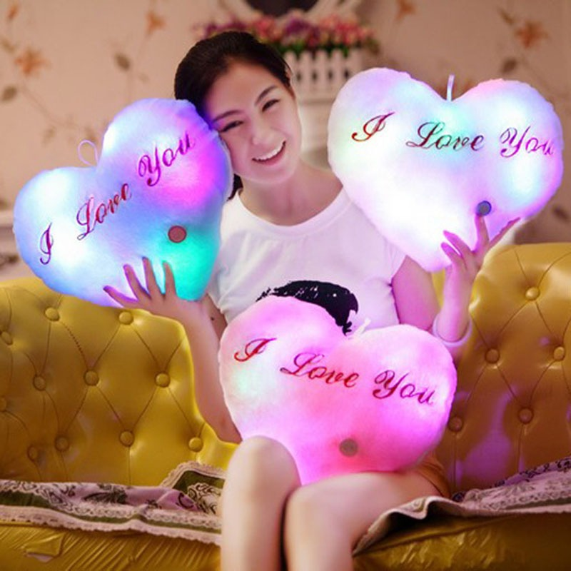 Creative Luminous Love Pillow Cushion Colorful Glowing Pillow Plush Doll Led Light Toys Gift For Kids