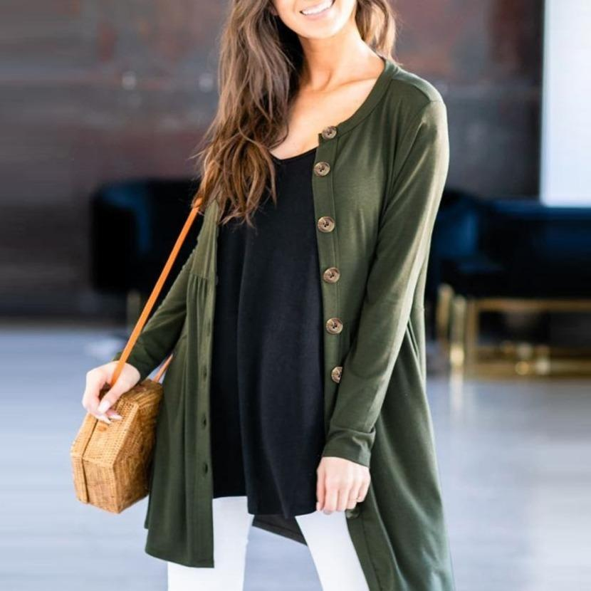 Women's button up fall cardigan long pocket cardigan solid color
