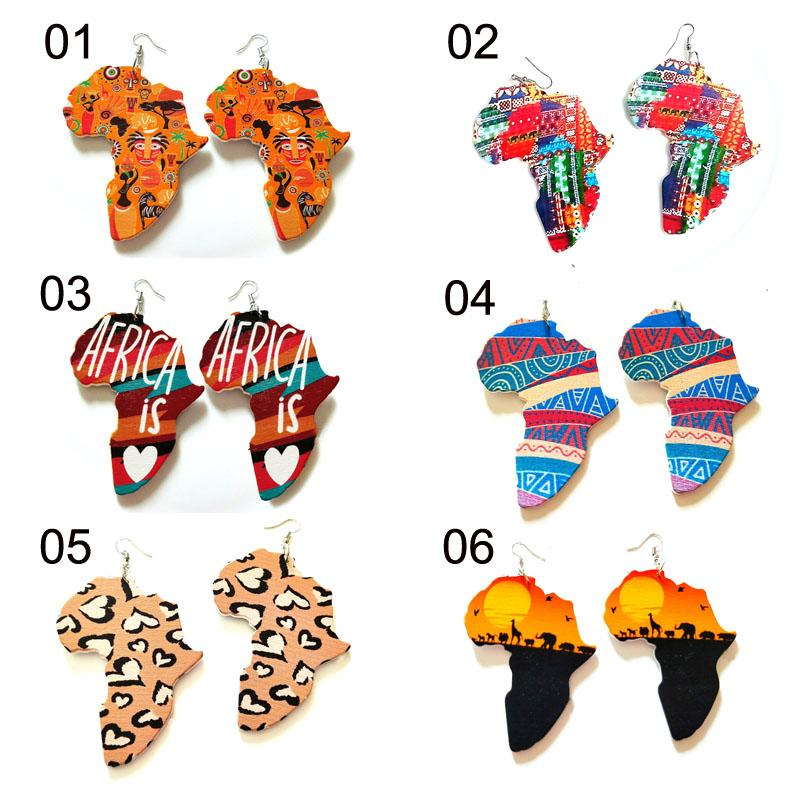 Printing African Scenery Colorful Eardrop Afro Wooden Earrings Wood Map Charm Hoop Earrings For Women Lady Jewelry