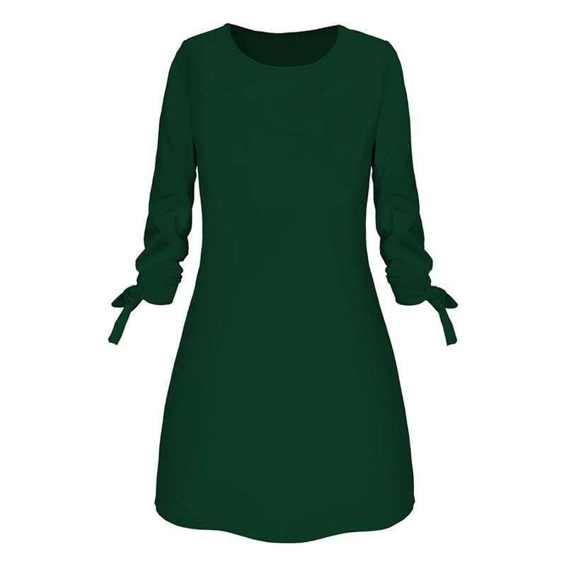 Spring Summer New Fashion Solid Color Dress Casual O-Neck Loose Dresses 3/4 Sleeve Bow Elegant Beach Short Mini Dress Party Dress