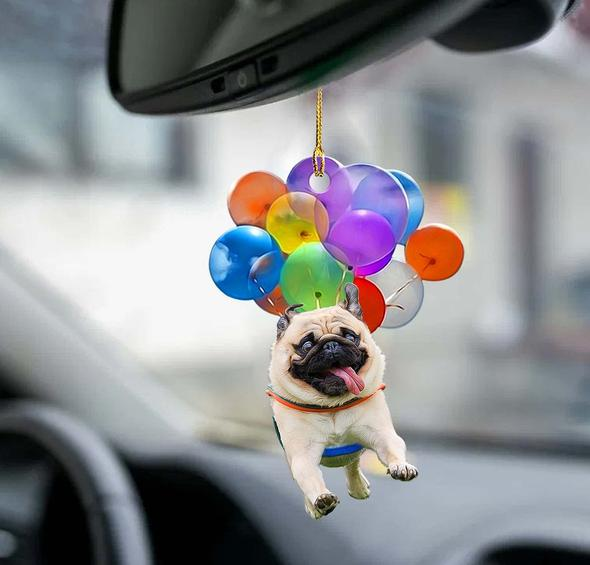Pug Dog Fly With Bubbles Car Hanging Ornament