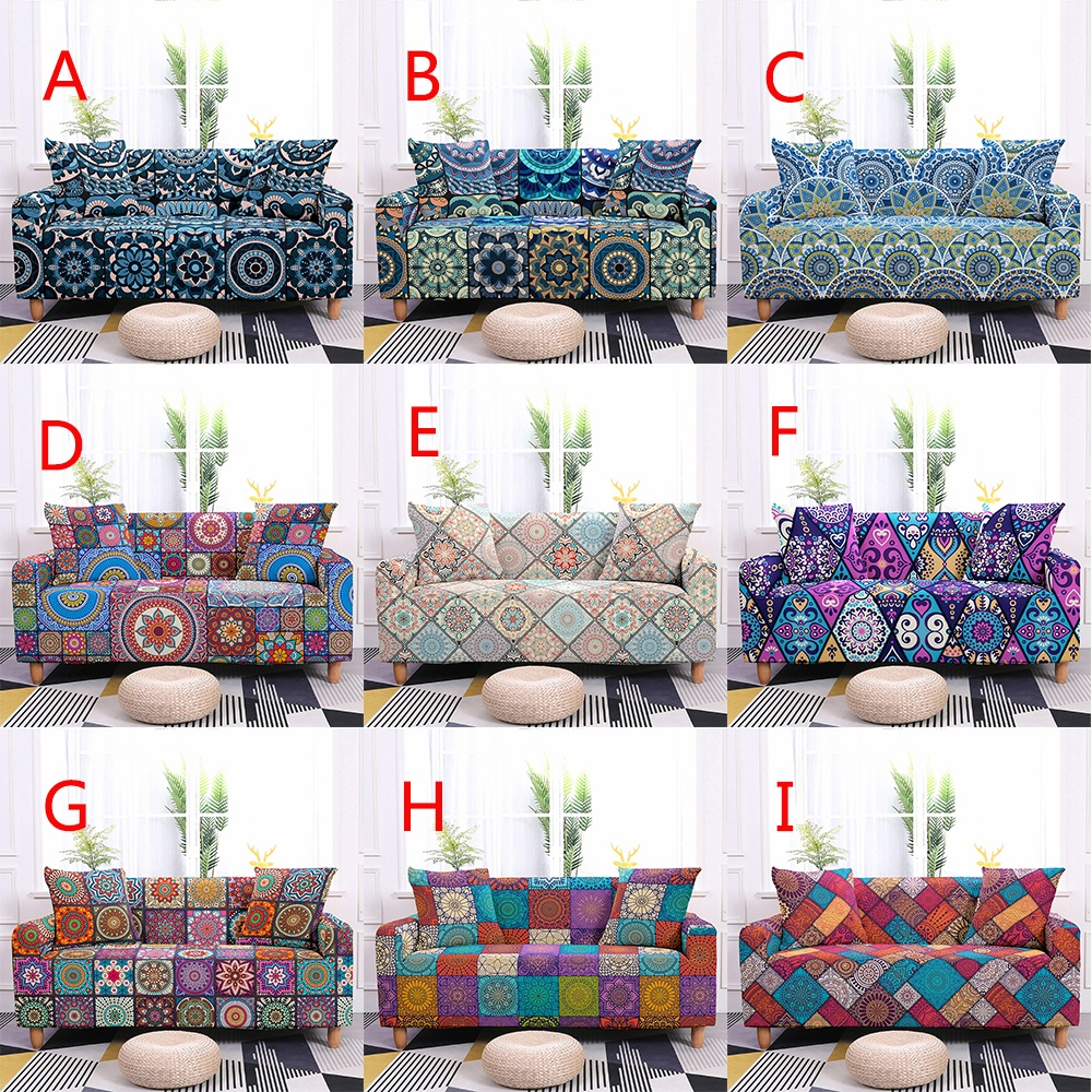 Home Decor 1-4 Seaters 10 Colors Mandala Sofa Cover Elastic Couch Cover Sofa Slipcovers Sofa Protector Sofa Couch Cover Suitable All Seasons