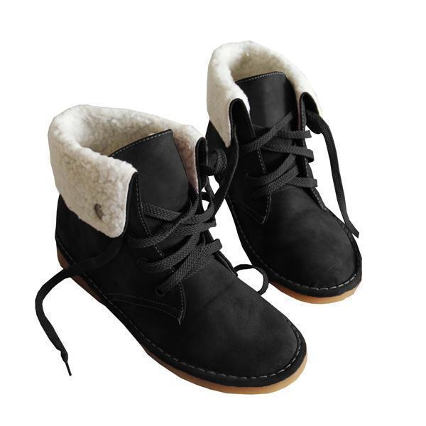 Faddishshoes Winter Warm Suede Lace Boots
