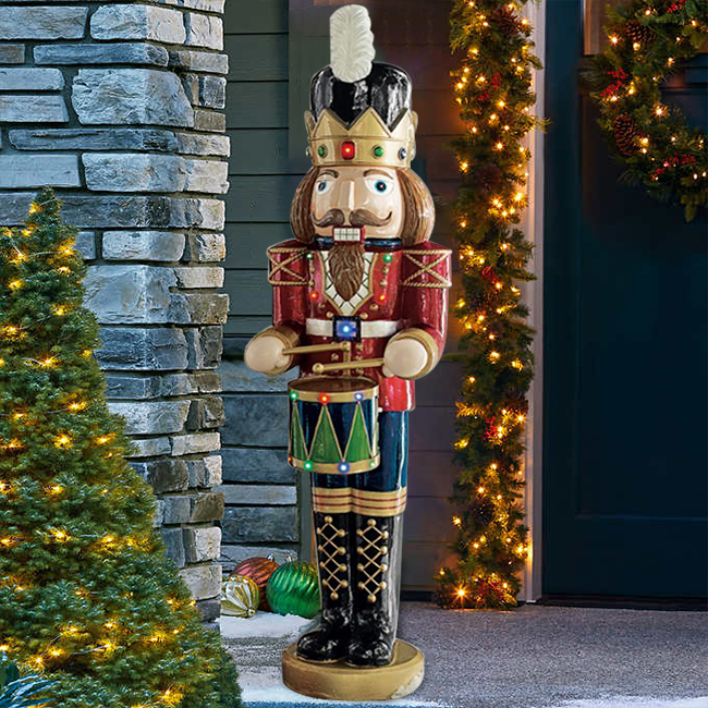 🎅Christmas Sale🎅 Animated Musical Nutcracker with drum🌲H-300mm