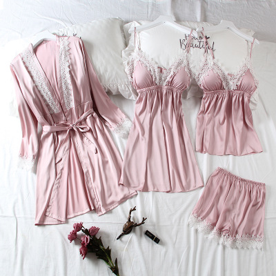 Pajamas, ice silk, nightgown, sling, chest pad, thin section, spring and summer sexy four-piece suit