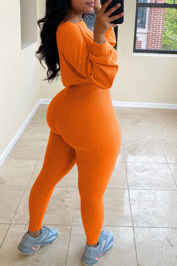 Round Neck Long Sleeve Two-piece Set