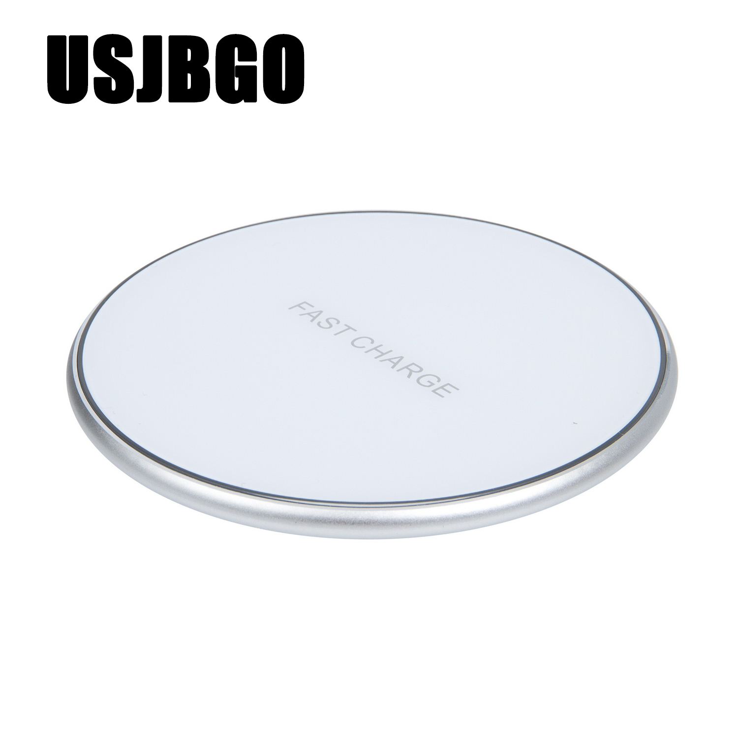 USJBGO New QI wireless charger for Apple Huawei mobile phone 10W ultra-thin round fast charging gift customization