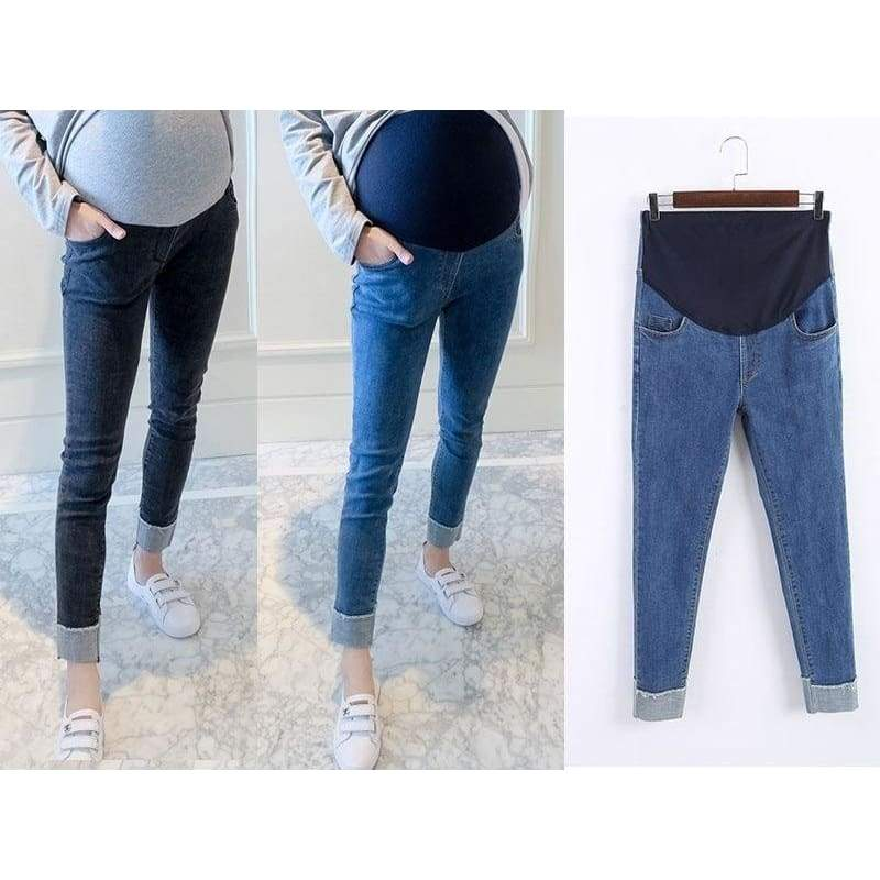 2017 Autumn Winter Women Fashion  High Waist Belly Support Maternity Pregnancy Pants Solid Color Skinny Pencil Pants Denim Pants Pregnant Women  Leggings