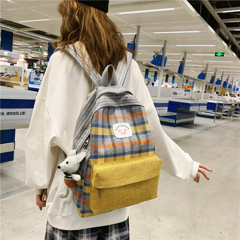 2019 new canvas bag plaid student bag
