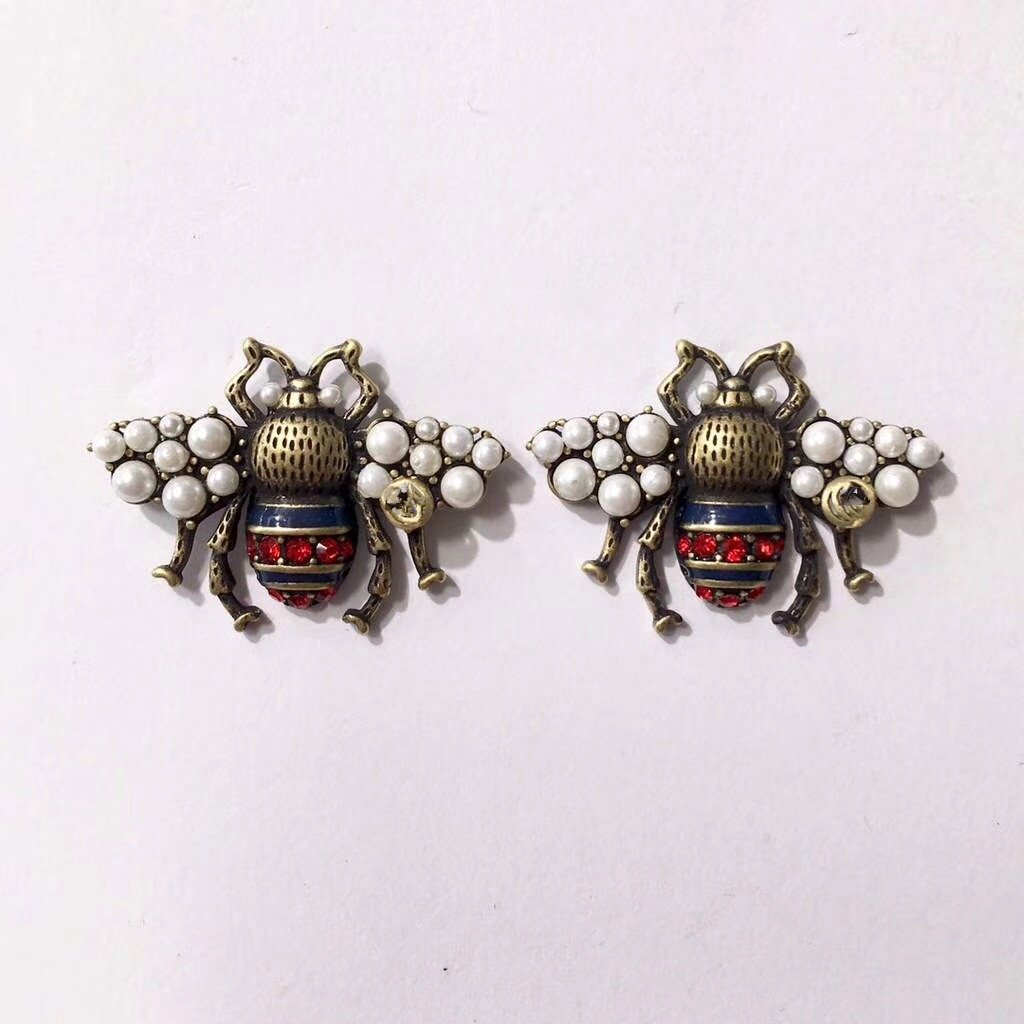 Latest fashion brand bee earrings, large pearl earrings High quality flash diamond earrings jewelry