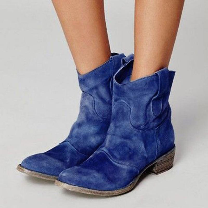 2019 Autumn Martin Boots Women Vintage Square Heel Suede Boots