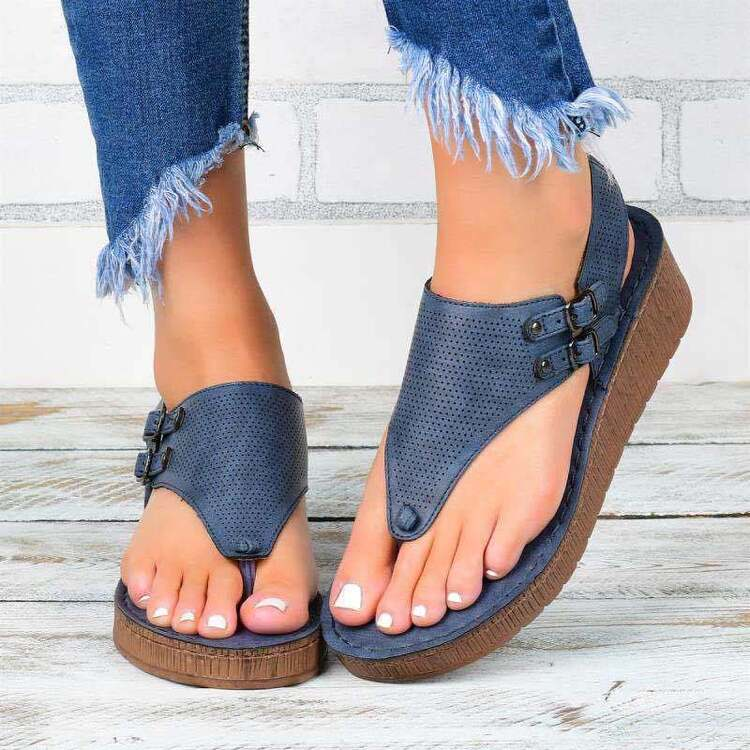 Side buckle strap flip-flop hollow thick bottom flat sandals