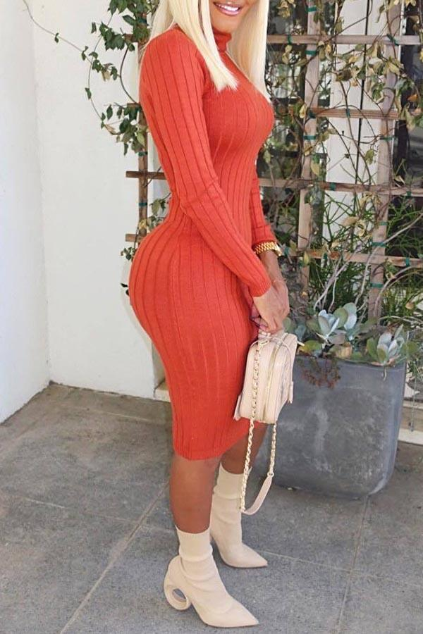 Solid Color Turtleneck Slit Dress