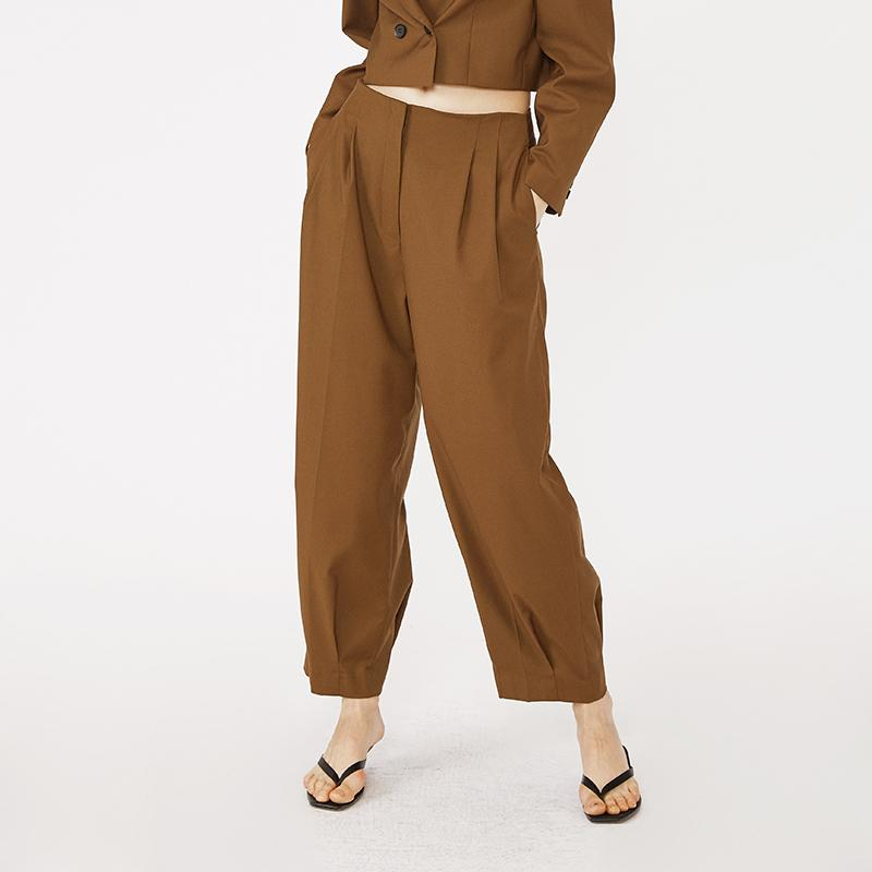 OEM and ODM high waist office women Turnip pants rusty color camel and black-carrot trousers 2.11