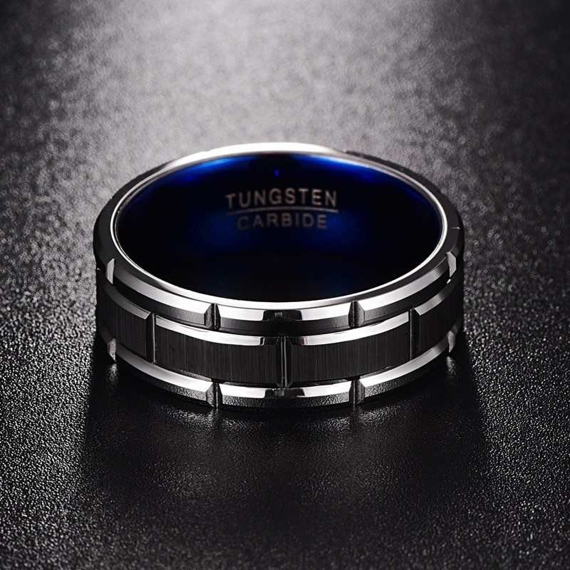 8MM Fashion Men's 316L Stainless Steel Blue Tungsten Carbide Ring Men Wedding Bands Size 6 - 13