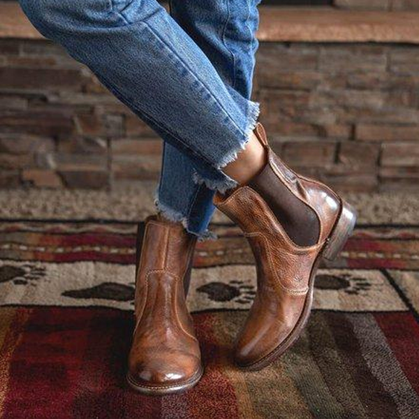 Faddishshoes Vintage Low Heel Pull-on Ankle Boots