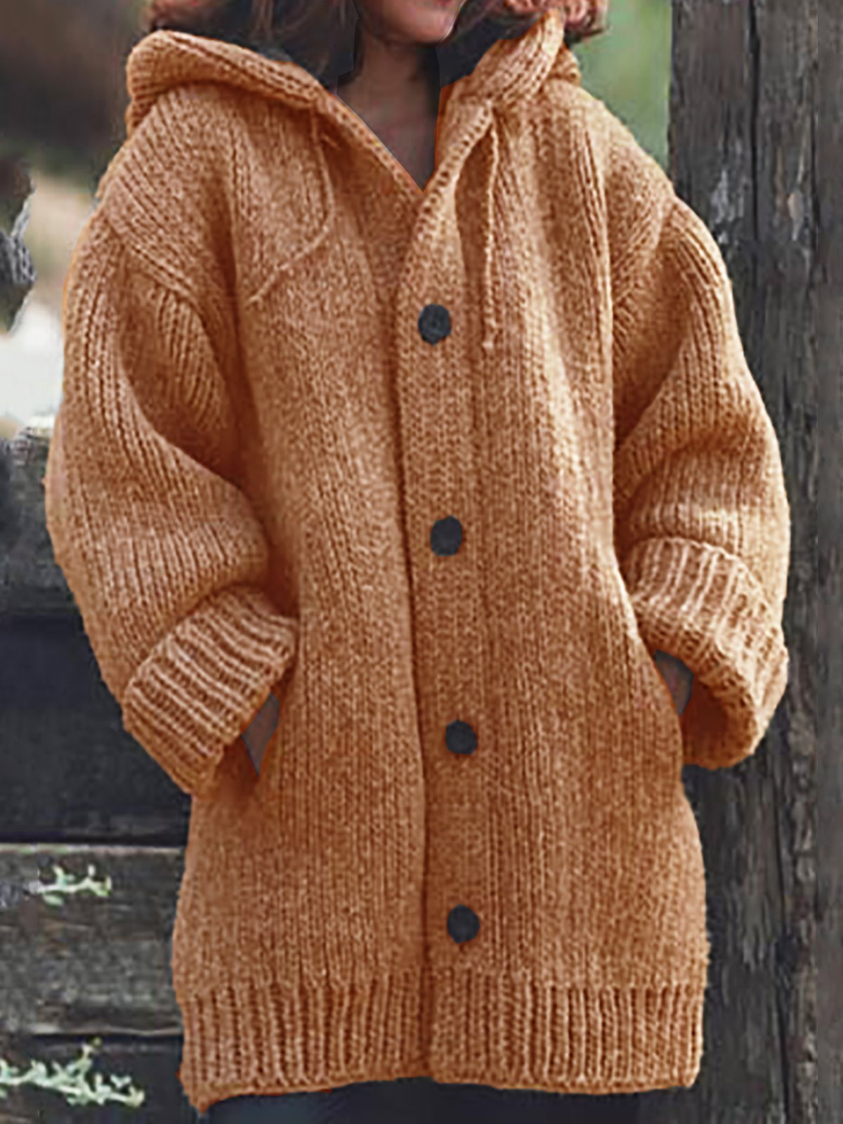 Button Down Hooded Knitted Cardigan Plus Size Outerwear-¡¾Last 253pcs Left ¡¿
