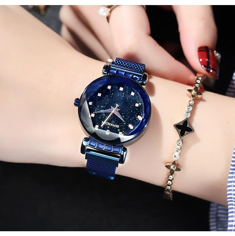 Custom Bling-Bling Magnetic Watchband Engraved Women Watch