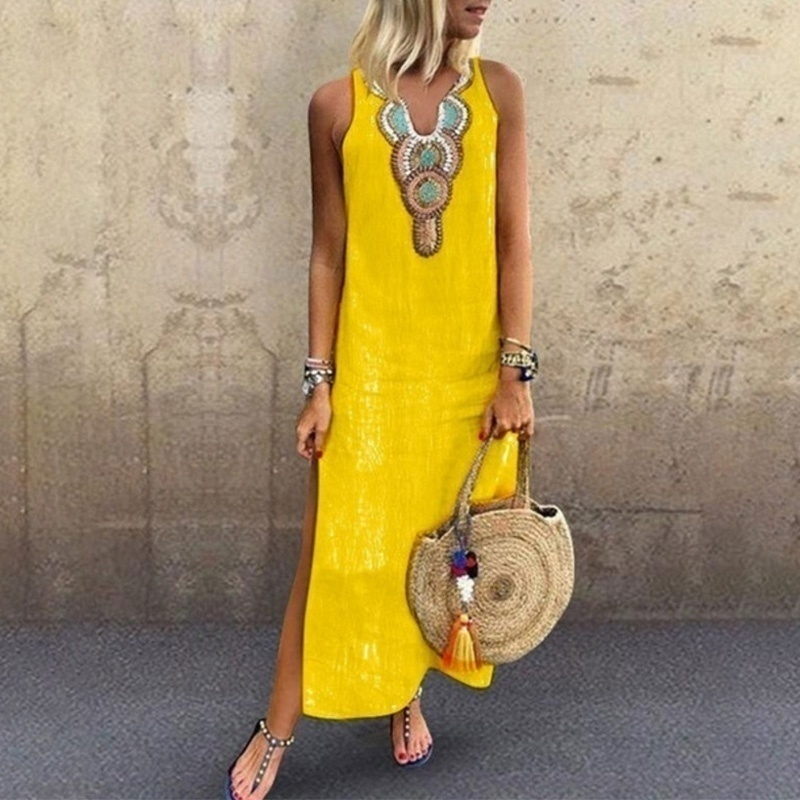 Women Summer Deep V-neck Sleeveless Dresses Solid Color Bohemia Casual Long Dresses