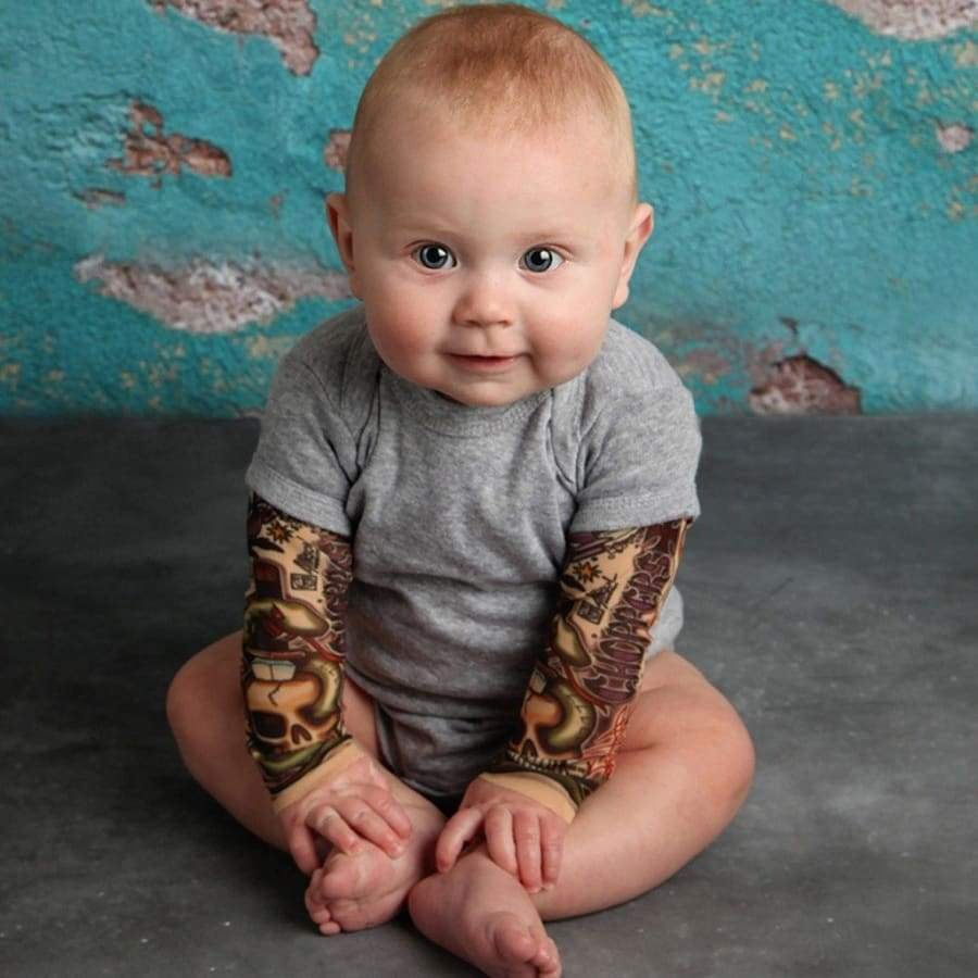 Newborn Baby Boy Tattoo Printed Long Sleeve Patchwork Romper Autumn Bodysuit Little Baby O-neck Rompers