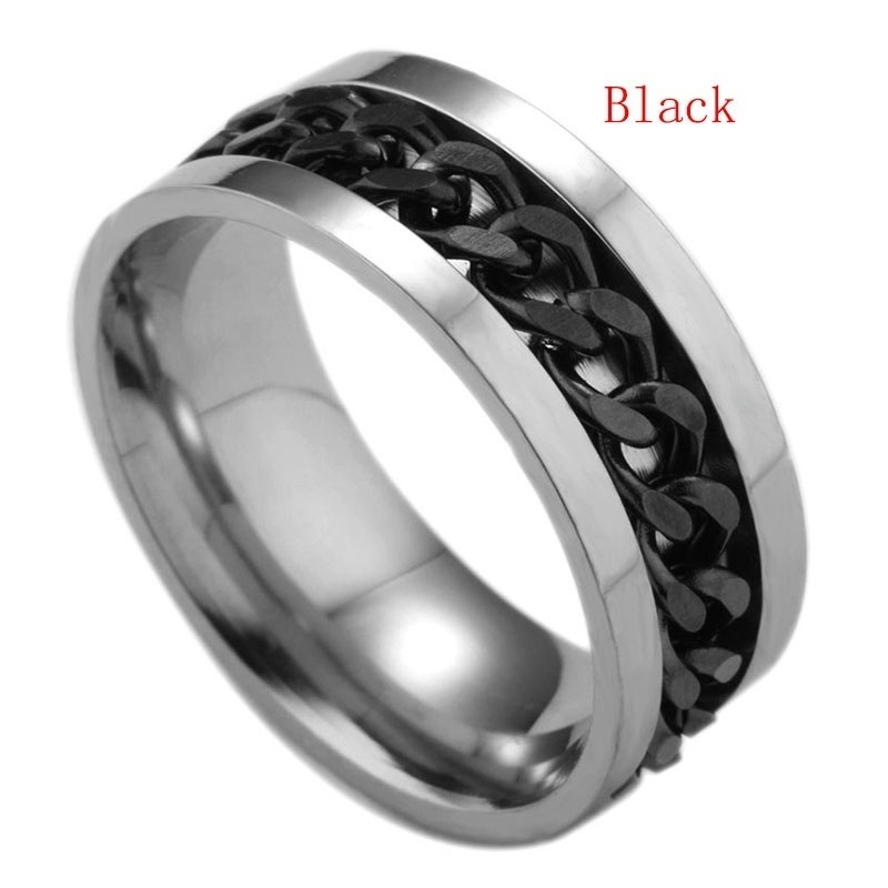 Stainless Steel Chain Ring Jewelry Fidget Hand Spinner Finger Fidget Spinner Ring EDC Toy for ADHD Autism