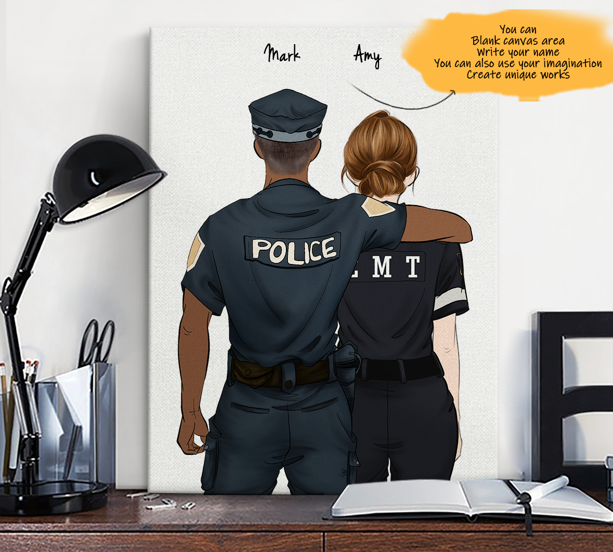He is My Friend! Hand Draw Custom Canvas-Print Gift Police-Dark&EMT