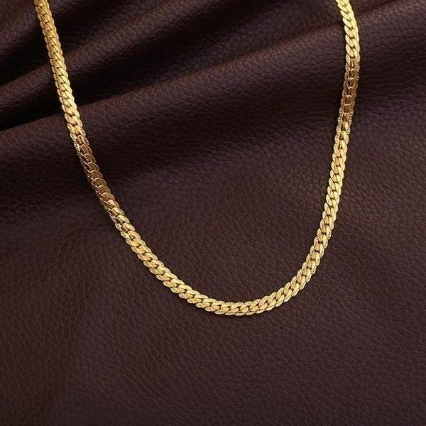5mm Classic Mens Charm necklace 18K Gold Plated Chain Necklace for Men