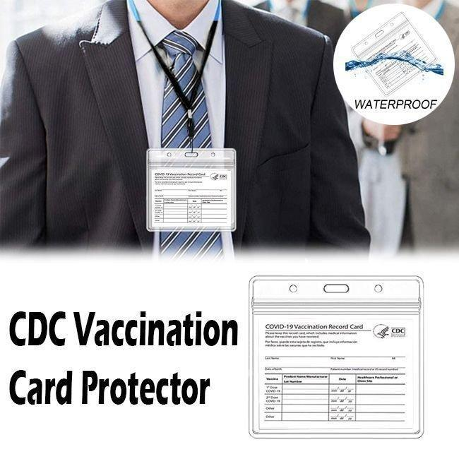 CDC Vaccination Card Protector with Waterproof Type Resealable Zip【With Free Lanyard】