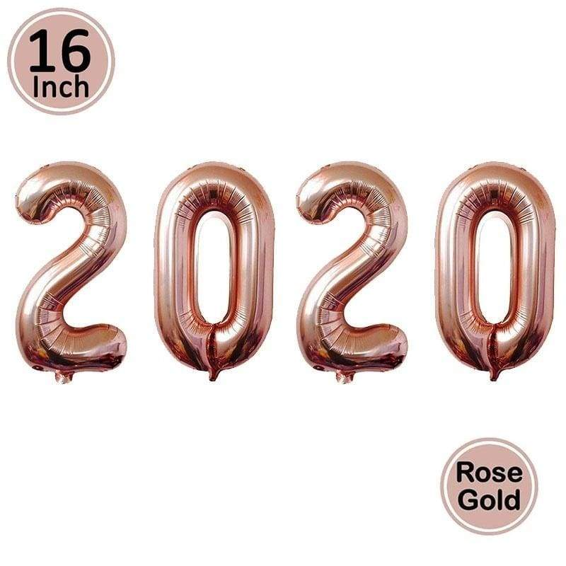 16inch Balloons Number 2020 Happy New Year Letter Eve Decor Christmas Foil Ballon Decoration Rose Gold Silver Gold Supplies