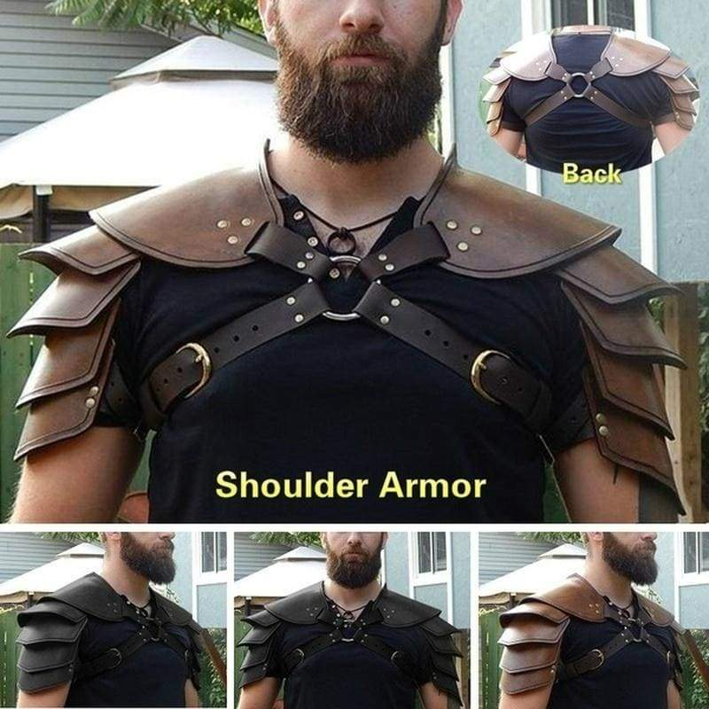2020 new Medieval Viking Leather Double Shoulder Armor Steampunk Vintage Leather Harness Retro Spartacus Warrior Gladiator Leather Armor Fashion Larp Cosplay Accessories