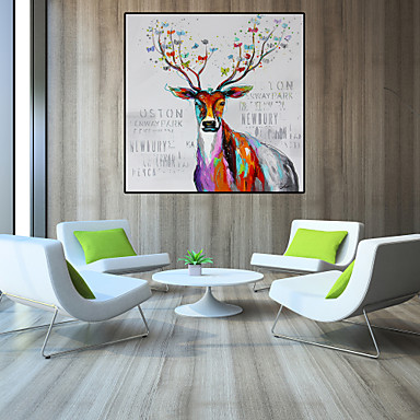 Oil Painting Hand Painted - Pop Art Modern Stretched Canvas