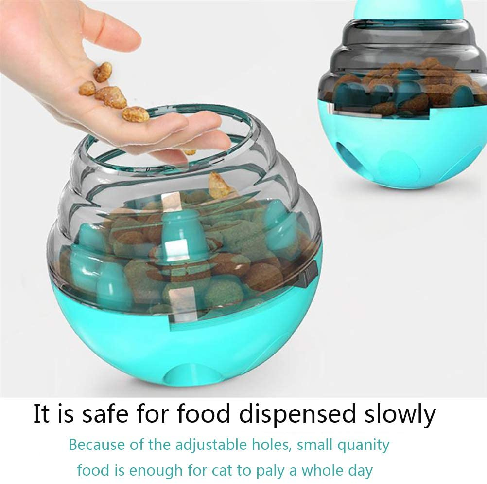 Cat Toys Interactive Food Dispenser, Cat Feeder IQ Treat Ball - Adjustable Cat Puzzle Feeder, Funny Pet Leaking Food Training Ball, Tumbler Toy Relieve Anxiety Reduce Boredom