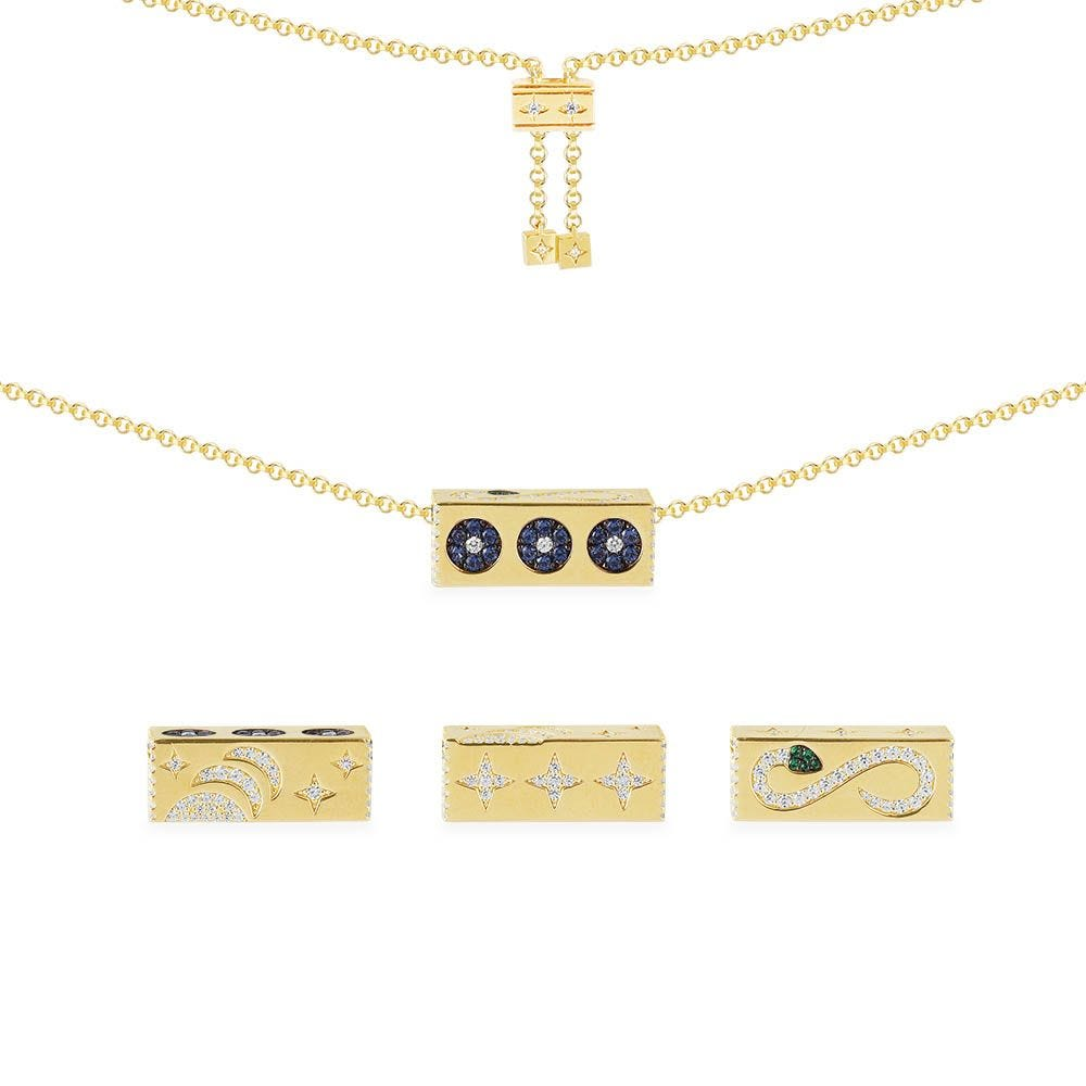 Adjustable Necklace With Serpent And Stars Rectangle Pendant