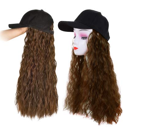 Fashion New Baseball Cap with Hair Brown Black Wavy Women Wig Hats Synthetic Wig for Women Daily Party Use (18 inch)