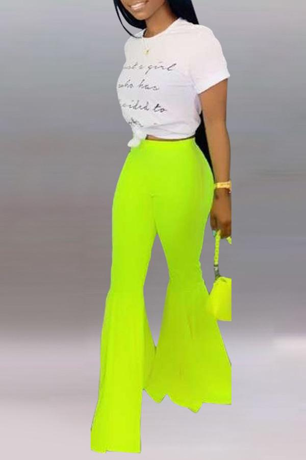 Solid Color Bell-bottomed Pants