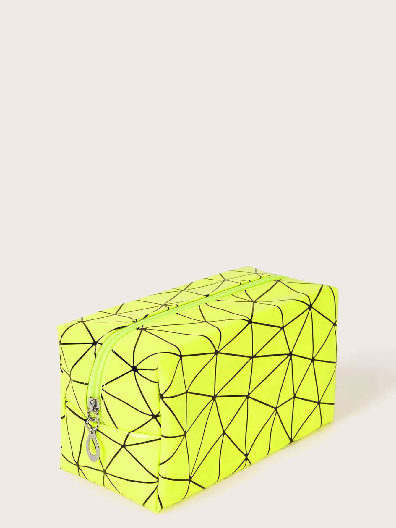 Geometric Pattern Neon Green Makeup Bag