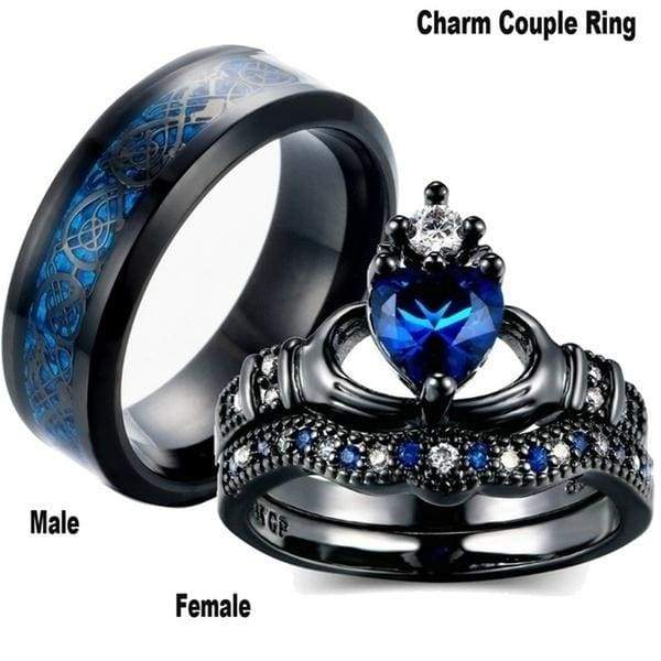 Glamour Couple Ring 316L Stainless Steel Men''s Ring & AAA Princess Cut Zircon Filled Sapphire Women''s Wedding Ring