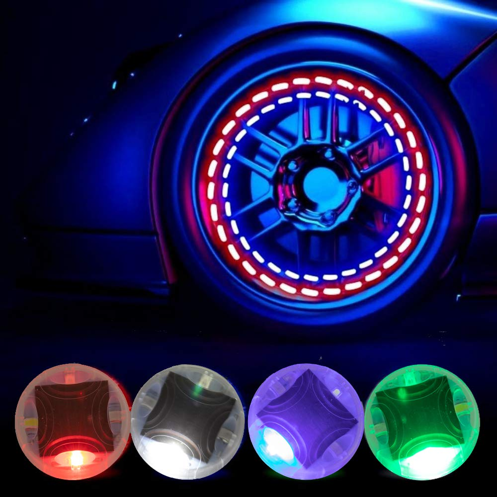 Tire Air Valve Cap Colorful LED Flash Wheel